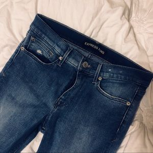EXPRESS mid-rise holey jeans!
